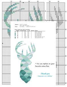 Modelo moderno punto de cruz ciervos silueta por AnimalsCrossStitch