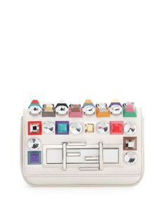 L0LM5 Fendi Baguette Mini Studded/Rhinestone Bag, White Multi