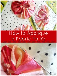 How to Applique yo-yos Spring Posies Quilt Block....This posies quilt block is a perfect way to get your feet wet with yo-yo's and appliqueing them to your background.  The quilt block is around 10″ or so.  The center of the quilt block is put on point and gives the posie stems a little bit more space so they can be long stemmed.