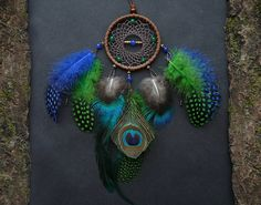 Blue green dreamcatcher home decor wall hanging dream catcher dangle Native American inspired