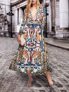 Elegant Fashion Slim Floral Deep V Collar Long Sleeve Maxi Dress – Paraqin Long Sleeve Maxi, Maxi Dress With Sleeves, Maxi Dress Summer, Summer Dresses, Outfits Casual, Casual Dresses, Formal Outfits, Outfit Semi Formal, Elegant Dresses