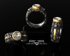 Intricate 14kt European Yellow Gold Black Silver by DeMerJewelry