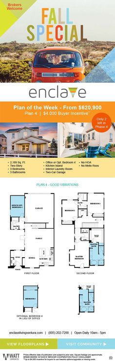New Homes for Sale in Ventura, California  New Homes from $620,900 + Buyer Incentive  Brokers Welcome |  Bring your clients and catch a wave!  No HOA  |  No Mello-Roos  |  Single-Family Homes  |  $4,000 Buyer Incentive*  http://www.enclavelivingventura.com/