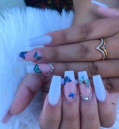 Long Square Acrylic Nails, Purple Acrylic Nails, Acrylic Nails Coffin Short, Summer Acrylic Nails, Best Acrylic Nails, Ballerina Acrylic Nails, Pink Acrylics, Baby Blue Nails, Blue And White Nails