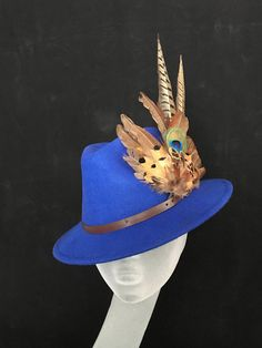 ARABELLA Ladies Blue Wool Felt Trilby with Pheasant Feather Trim - Perfect  for Cheltenham Races 1d73195ee428