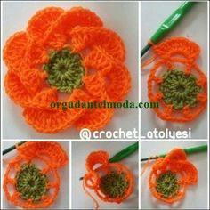 Easy to Crochet I-Cord Tutorial 110 Tina's handicraft : 30 ways to create leaves and flowers summer crochet hat with flowers Directions in the posting. Crochet Flower Hat, Crochet Sunflower, Crochet Flower Tutorial, Crochet Leaves, Knitted Flowers, Crochet Flower Patterns, Crochet I Cord, Crochet Diy, Irish Crochet