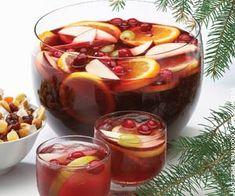 Holiday Cranberry Punch...red wine, vodka, spiced rum, ruby tangerine grapefruit juice, cran/rasp juice, sparkling water....cranberries, lemons, oranges, limes, apples to garnish
