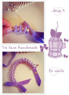 diy bracelet 2<<<< made one of these with balcony ribbon and gray pearls. EASY!-Nelly