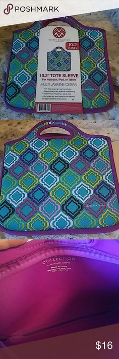 """NWT Tote Sleeve.Great 🎁 New Never Used..10.2"""" Tote Sleeve for netbook, ipad or tablet. Weather resistant, easy clean, perfect for travel..Super Clean... Macbeth Collection Bags Laptop Bags"""