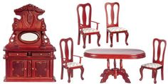 cool Dollhouse Miniature Victorian 6 pc Dining Room Set Doll House Furniture   Check more at http://harmonisproduction.com/dollhouse-miniature-victorian-6-pc-dining-room-set-doll-house-furniture/