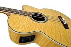 Dragonfly 4N Acoustic Bass - Quilt Maple, Amber. Pre-owned for sale at the Guitar Hacienda