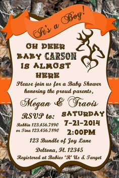 OH DEER Camo Baby Shower Invitation by Momentsinlifedesigns