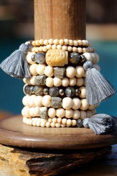 Carved Buddha Gray Tassel Stretch Bracelet by HappyGoLuckyJewels