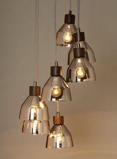 BHS // Illuminate // Lexi Smoke Cluster // smoke glass and dark wood cluster light