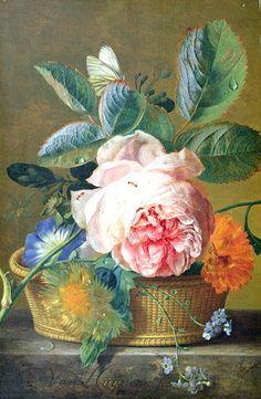 A Basket with Flowers by Jan van Huysum