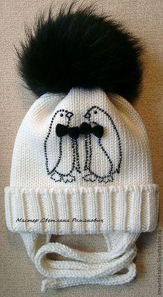"""Купить Двойная шерстяная шапочка с меховым помпоном """"Серьезный разговор"""" - детские зимние шапки"""