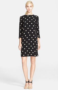 Free shipping and returns on kate spade new york 'dizzy' dot print shift dress at Nordstrom.com. kate spade's penchant for polka dots is evident in an easy shift dress frilled by prim ruffles at the neckline and three-quarter-length sleeves.