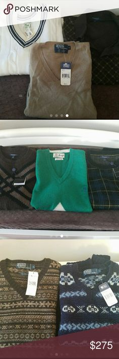 Men's designer clothing lot Large men's designer clothing lot some still NWT!  12 pieces consists of  1 Ralph Lauren %100 cashmere vest NWT $335 1 white lacoste sweater NWT $98.99 1 Burberry long sleeve 2 Burberry vests NET 1 Pringle of Scotland vest 1 polo vest NWT $185 1 polo vest NET  $165 2 long sleeve polo shirts 2 short sleeve golf polo shirts   With just the NWT items it's already 783.99!! Sizes L and XL. Cashmere Vest is size S. Fits like a M. **free ship** All NWT or NWOT  Pet and…