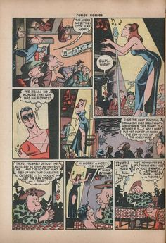 Plastic Man meets The Granite Lady. From Police Comics (February Art by Jack Cole. Read the whole comic online here. Jack Cole, Plastic Man, Comic Book Pages, Comics Online, Police, This Book, Beautiful Women, Guys, Granite