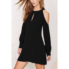 Yoins Yoins Black Cold Shoulder Keyhole Front Backless Dress ($27) ❤ liked on Polyvore featuring dresses, black, black dress, black backless dress, black backless cocktail dress, kohl dresses and key hole dress