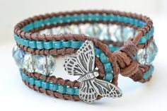 """Country girl beaded cuff bracelet """"Light blue/green crystal & Turquoise"""", Light brown leather, very boho-surfer chic. $65.00, via Etsy."""