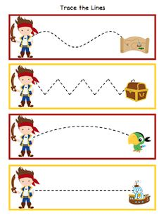 **Fine motor activity while students are waiting their turn** Preschool Printables: Pirate Also alphabetical list of tons of other preschool themed printables. Preschool Printables, Preschool Themes, Preschool Lessons, Preschool Learning, Kids Learning, Community Helpers Preschool, Classroom Themes, Teaching, Preschool Pirate Theme