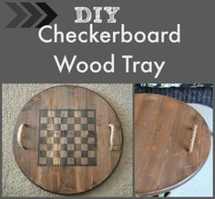 An ebony checkerboard on one side of this reversible checkerboard wooden tray provides a bit of whimsey and loads of fun to this very useful DIY project! Wood Block Crafts, Scrap Wood Projects, Wood Crafts, Diy Projects, Primitive Crafts, Pallet Projects, Woodworking Projects, Diy Yard Games, Wood Games