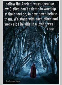 """...My dieties don't ask me to worship or bow down before them"" #witchywisdom #paganpath #theoldways"