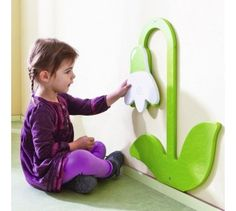 "Snowdrop Flower, Wooden Playwall Decoration by HABA, 121083. W 16 ½"" x H 19 ½""."