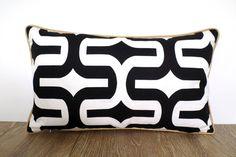 Black and white pillow cover 20x12, black sofa cushion piping, trellis lumbar case, black throw pillow cover, chair cushion black and gold