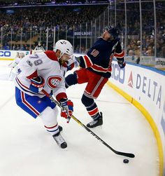 Andrei Markov #79 of the Montreal Canadiens plays the puck in the first period against J.T. Miller #10 of the New York Rangers at Madison Square Garden on Saturday, Mar. 4, 2017 in New York City.