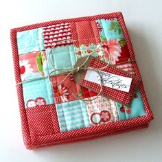 Hot Pad ~ sew favorite fabric squares together and bias seam binding ~ GIFT IDEA for all your friends/family/kids/grands/new homeowners ~ by Ourcozynest
