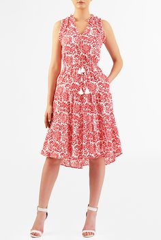 I <3 this Floral print ruffle cotton voile dress from eShakti