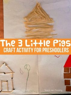 The 3 Little Pigs craft activity to bring the story alive for preschoolers as part of Story Book Summer on Rainy Day Mum Nursery Rhyme Crafts, Nursery Rhymes, Fairy Tale Activities, Preschool Activities, Reading Activities, Toddler Preschool, Toddler Activities, Toddler Art, Fairy Tale Crafts