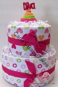 Girl Diaper Cake  Pink Diaper Cake  Baby by MsCarlasBabyCakes, $45.00
