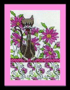 Items similar to Design Works - Pink Floral Cat, Counted Cross Stitch Kit on Etsy Counted Cross Stitch Kits, Cross Stitch Charts, Cross Stitch Designs, Cross Stitch Patterns, Cross Stitch Pictures, Cross Stitch Flowers, Cross Stitching, Mini, Sewing Crafts