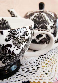 black baroque. Damask tea set