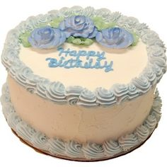 """Blue Birthday Cake 9 inch with """"Happy Birthday text"""". High Quality fake dessert Cake, realistic looking fake Birthday Cake Blue add to any home or office great for Movie and Theatre props and decorative cakes make for great home decor. - Decorcentral. - D"""