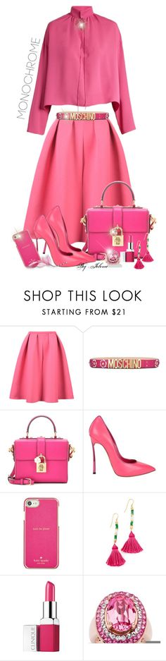 """""""Color Me Pretty: Head-to-Toe Pink"""" by jelenalazarevicpo ❤ liked on Polyvore featuring Moschino, Dolce&Gabbana, Casadei, Kate Spade, Aurélie Bidermann, Clinique, Palm Beach Jewelry and Balenciaga"""