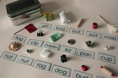 Montessori Phonetic Object Box, Miniature Tangible Teaching Tools, Beginning Reading and Writing, Educational Toy. $26.00, via Etsy.