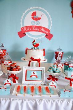 Gender neutral aqua & red baby carriage shower via Kara's Party Ideas