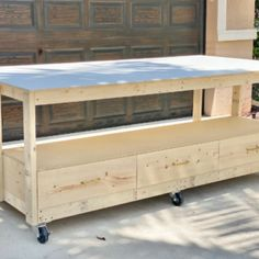 DIY Bathroom Vanity Makeover | Workbench With Storage, Workbench Plans Diy, Mobile Workbench, Building A Workbench, Garage Storage, Diy End Tables, Diy Table Saw, Diy Dining Table, Wood Shop Projects