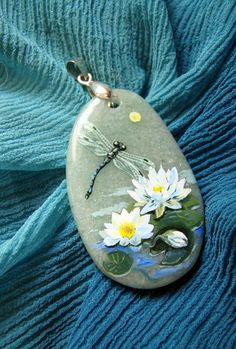 Dragonfly. Handmade pendant. Painting on jade. by WithLoveAsya, $25.00