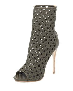 Open-Toe Woven Leather Ankle Boot, Army Green by Giuseppe Zanotti at Neiman Marcus.