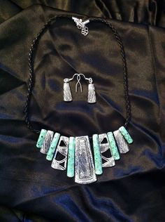 Turquoise and Silver Aztec Necklace on Etsy, $20.00