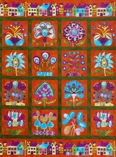 Sue Spargo & Wendy Morris for Robert Kaufman Fabrics /  Red Panel