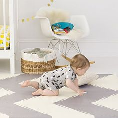 Amazon.com : Skip Hop Geo Grey-Cream Playspot Foam Floor Tile Playmat, Chevron : Baby