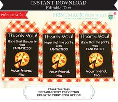 Pizza Party Birthday Party Thank You Tags Editable by printmagic Pizza Party Birthday, Birthday Party Themes, Thank You Tags, Favor Tags, Favors, Party Ideas, Templates, Etsy, Thank You Labels