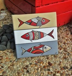 """Table """"The three sardines with acrylic"""" - # acrylic # Acrylic # # Three . Wood Painting Art, Fabric Painting, Stone Painting, Drawing Lessons For Kids, Art Lessons, Wal Art, Scandinavian Folk Art, Ceramic Fish, Fish Drawings"""