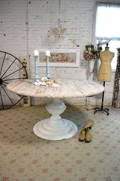 Painted Cottage Chic Shabby French Linen Round Dining Table [TBL31] - $995.00 : The Painted Cottage, Vintage Painted Furniture
